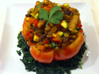 Curried Field Pea Stuffed Tomatoes
